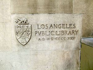 Cornerstone - Ceremonial masonry stone of the Los Angeles Central Library building, laid in 1925