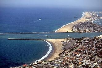 Corona del Mar State Beach - Aerial view of Corona del Mar State Beach (in foreground before the jetty)