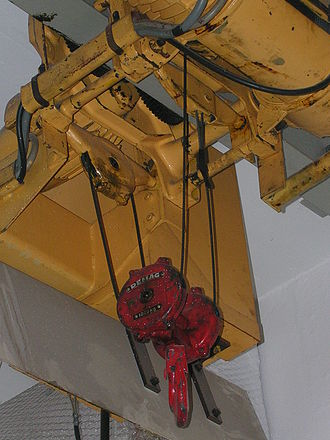 Pulley - A hoist using the compound pulley system yielding an advantage of 4. The single fixed pulley is installed on the hoist (device). The two movable pulleys (joined together) are attached to the hook. One end of the rope is attached to the crane frame, another to the winch.