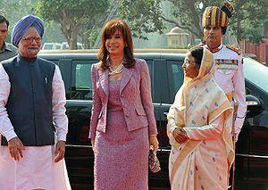 Argentina–India relations - President Cristina Kirchner with Prime Minister Manmohan Singh and President Pratibha Patil.