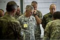 Croatian military officers brief U.S. Army Lt. Gen. Donald Campbell, center, the commanding general of U.S. Army Europe, about Immediate Response 2013 in Zagreb, Croatia, Aug. 27, 2013 130827-A-WB953-257.jpg