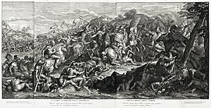 Gérard Audran - Image: Crossing of the Granicus, Gérard Audran after Charles Le Brun, 1672