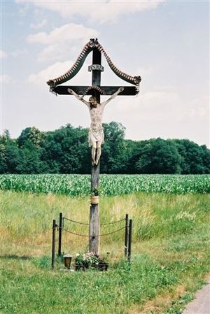 A crucifix amidst the cornfields near Mureck i...