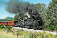 Cumbres & Toltec Scenic Railroad excursion train headed by locomotive 484 in 2015.jpg
