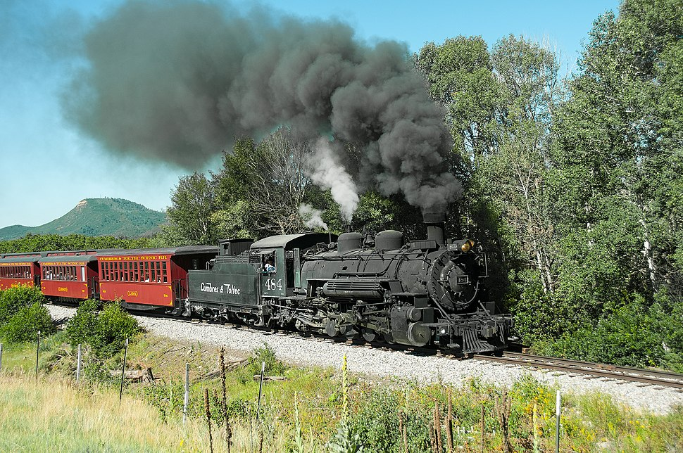 Cumbres & Toltec Scenic Railroad excursion train headed by locomotive 484 in 2015