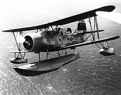 Curtiss SOC-1 Seagull należący do US Navy w locie, 2 lipca 1939