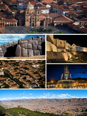 Top: Plaza de Armas, Middle left: Qurikancha, Middle right: Sacsayhuamán, Bottom left: Museum, Bottom right: View of the colonial houses, Bottom: Aerial view of Cusco.