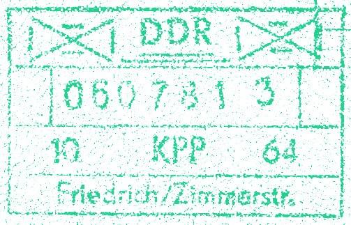 DDR Checkpoint Charlie Passport Stamp