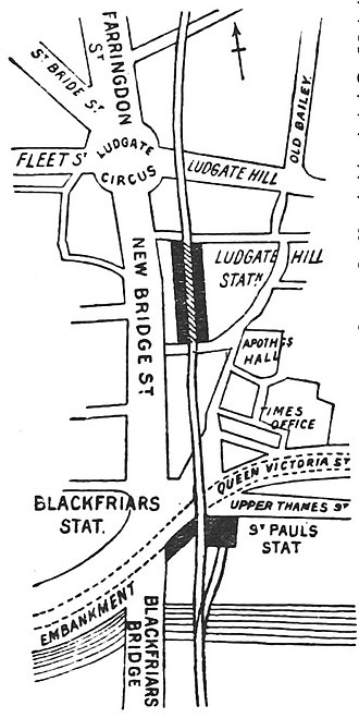 Ludgate Hill railway station - Ludgate Hill and surrounding streets in 1888