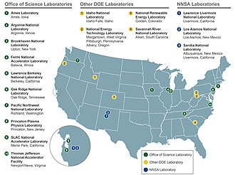 United States Department of Energy national laboratories - Map of the 17 DOE National Laboratories in 2014.