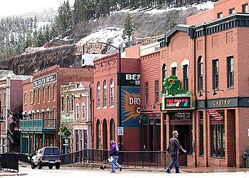 Restored historic buildings in downtown Black Hawk