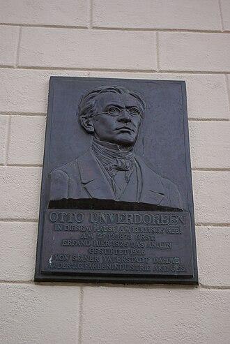 Otto Unverdorben - Plaque honoring Unverdorben at Hauptstraße 46/47 in Dahme/Mark