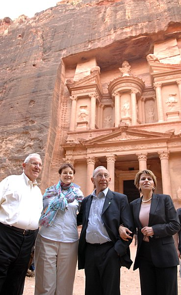 File:Dalia Itzik, Shlomo Bernitz, Amira Dotan and Reuven Rivlin visit Nabatean city of Petra D977-078.jpg