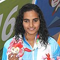 Damini Gowda (INDIA) won Gold Medal in the Women's swimming 200m Butterfly category, at the 12th South Asian Games-2016, in Guwahati (cropped).jpg