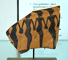 Dancers on a piece of ceramic from Cheshmeh-Ali (Shahr-e-Rey), Iran, 5000 BC. Currently located at the Louvre