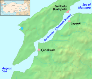 Gelibolu - Map of Dardanelles, where Çanakkale, Lapseki, and Gelibolu are located.