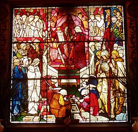 David's Charge to Solomon (1882), a stained-glass window by Edward Burne-Jones and William Morris in Trinity Church, Boston, Massachusetts. David's Charge to Solomon, by Burne-Jones and Morris, Trinity Church, Boston, Massachusetts.JPG
