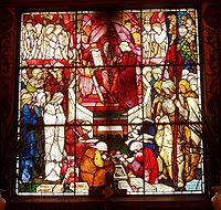 """""""David's Charge to Solomon"""" (1882), a stained-glass window by Burne-Jones and Morris in Trinity Church, Boston, Massachusetts."""