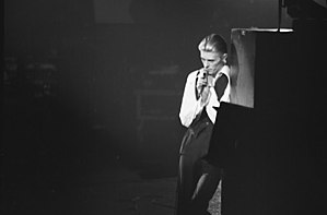 Station to Station - Bowie, as his persona of the Thin White Duke, on stage during 1976 in Toronto.