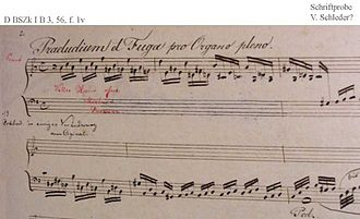 Prelude and Fugue in A minor, BWV 543 - First page of the Prelude BWV 543/1a (19th-century copy)