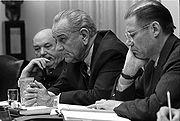 Dean Rusk, Lyndon B. Johnson and Robert McNamara in Cabinet Room meeting February 1968