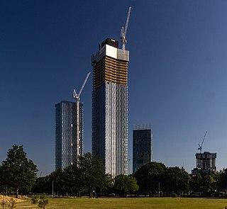 Deansgate Square skyscraper cluster in Manchester