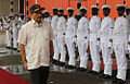 Defence Minister Manohar Parrikar inspecting the guard of honour at the commissioning of INS Vajrkosh.jpg