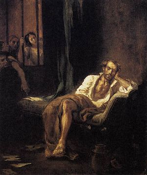 "Torquato Tasso - ""Tasso in the Hospital of St. Anna at Ferrara"" by Eugène Delacroix. Tasso spent 1579–1586 in the madhouse of St Anne."
