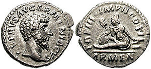 Arsacid dynasty of Armenia - Coin issued to celebrate the victory of Lucius Verus ''Armeniacus'' against Vologases IV in the war for Armenia.