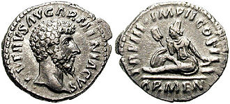 Commemorative coin - Coin issued during the reign of Roman emperor Lucius Verus (161-169) to celebrate his victory against Vologases IV of Parthia. The reverse shows the mourning personification of Armenia.