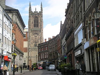 Derby Cathedral - The cathedral from Irongate