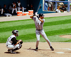 d7a282bfcae9c6 Jeter in his distinctive early career upright batting stance at the new  Comiskey Park