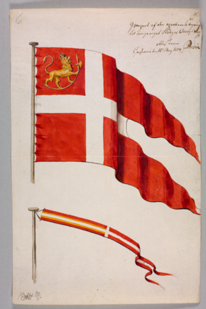 Flag of Norway - The first war flag of independent Norway, introduced 27 February 1814, replaced 7 March 1815 by a common war flag for Sweden and Norway.