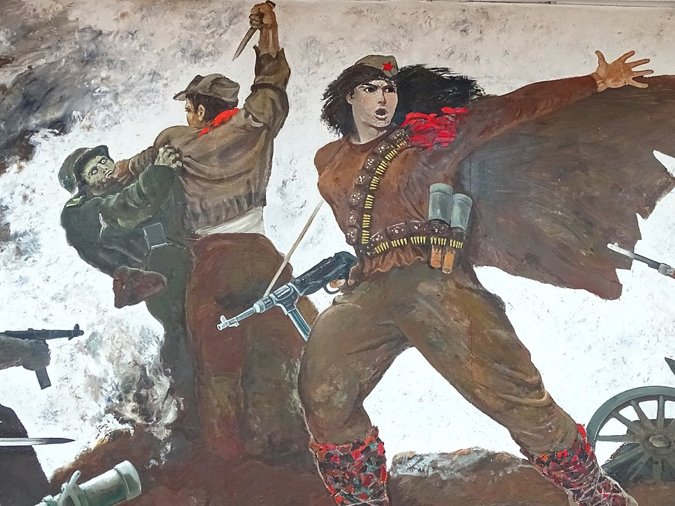 Detail of Painting of Female Partisan in Battle - National Historical Museum - Tirana - Albania - 01 (42748115122)