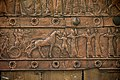 Detail of an embossed scene on bronze plate showing Shalmaneser III in a chariot and Assyrian archers. From a Balawat gate, Iraq, 859-824 BCE. Ancient Orient Museum, Istanbul.jpg