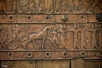 Balawat Gates - Image: Detail of an embossed scene on bronze plate showing Shalmaneser III in a chariot and Assyrian archers. From a Balawat gate, Iraq, 859 824 BCE. Ancient Orient Museum, Istanbul
