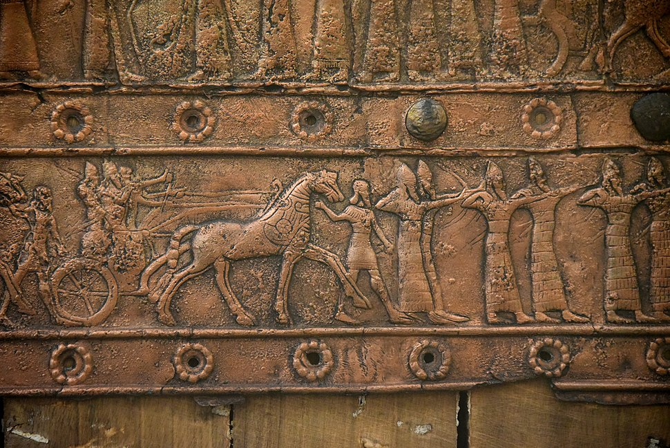 Detail of an embossed scene on bronze plate showing Shalmaneser III in a chariot and Assyrian archers. From a Balawat gate, Iraq, 859-824 BCE. Ancient Orient Museum, Istanbul