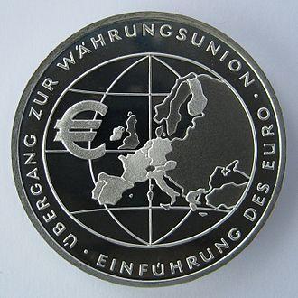 Euro gold and silver commemorative coins (Germany) - Image: Deutsche Gedenkmuenzen Waehrungsunion IMG 2613