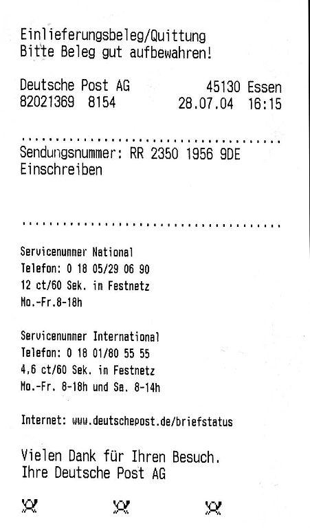 Briefe Schreiben Klasse 5 Gymnasium : File deutsche post einlieferungsbeleg einschreiben