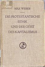 Couverture de l édition originale de L éthique protestante et l esprit du capitalisme.