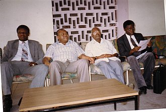 Étienne Tshisekedi - Tshisekedi with founding members of the UDPS, from left to right: Frédéric Kibassa Maliba, Tshisekedi, Vincent Mbwakiem, and Marcel Lihau