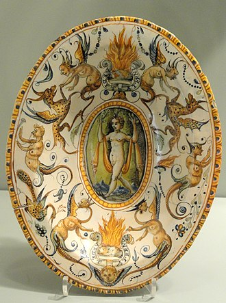 Willem Jansz Verstraeten - Image: Dish from the service of Alfonso Il d'Este, 1579 or later, Urbino, probably from the Patanazzi workshop, tin glazed earthenware (maiolica) Gardiner Museum, Toronto DSC01275