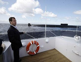 Borei-class submarine - Image: Dmitry Medvedev near Yury Dolgorukiy submarine