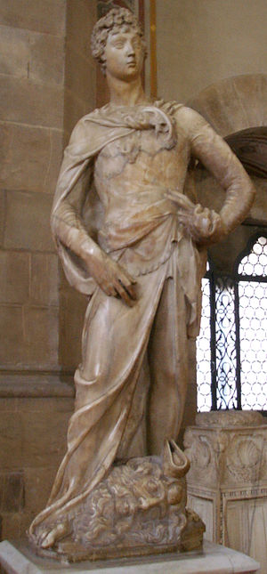 David (Donatello) - The first version of David (1408–1409). Museo Nazionale del Bargello, Florence. Height 191 cm.