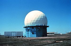 National Severe Storms Laboratory - NSSL's first Doppler weather radar located in Norman, Oklahoma. 1970s research using this radar led to NWS NEXRAD WSR-88D radar network.