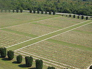 World War I casualties - Douaumont French military cemetery seen from Douaumont ossuary, which contains remains of French and German soldiers who died during the Battle of Verdun in 1916