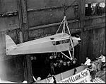 Douglas Corrigan's plane returning to the US via ship 1938.jpg