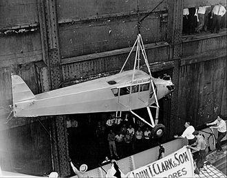 Douglas Corrigan - Corrigan's plane arriving in New York via ship