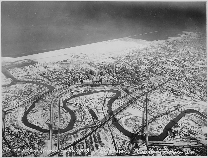 Downtown Cleveland, Ohio, in winter, from the air, 12-1937 - NARA - 512842.jpg