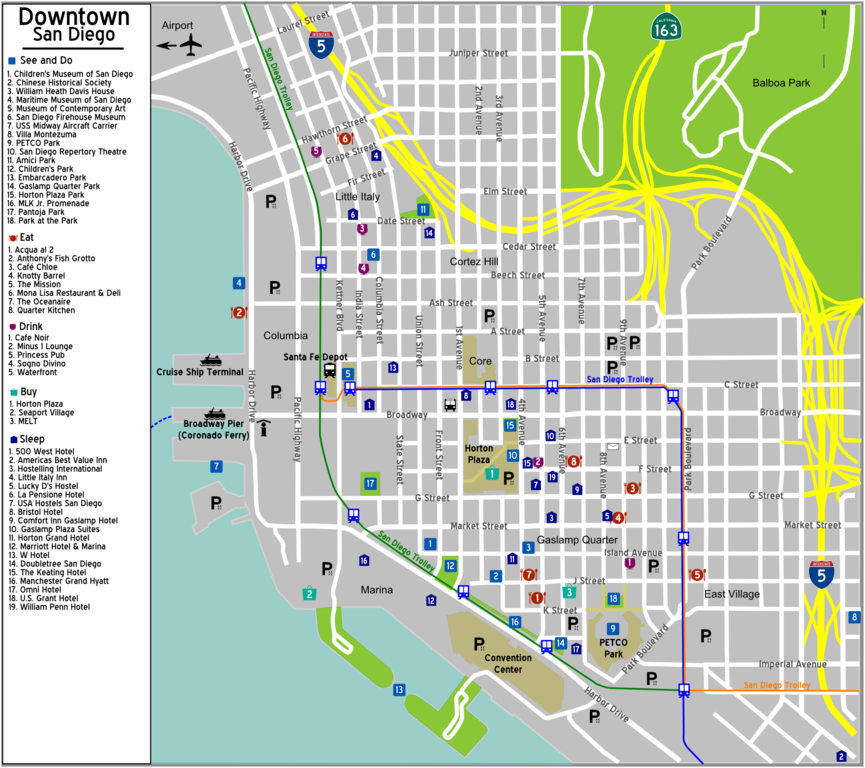 downtown san diego map pdf